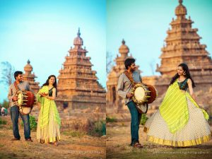 Dance with music couple portrait in temple