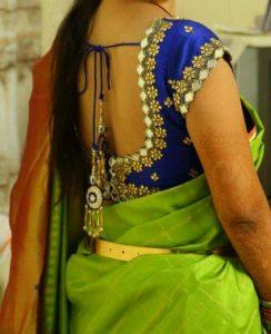 Mirror work blouse for silk saree