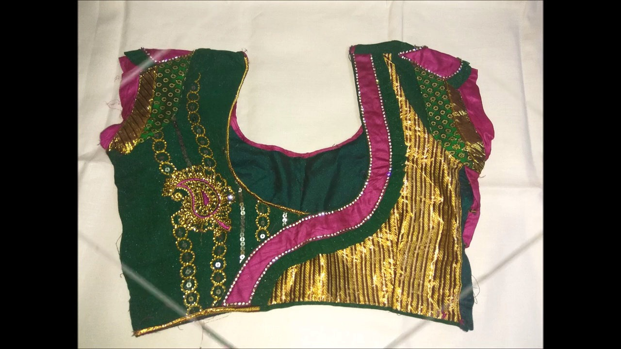 10. Green Blouse with Golden and Pink Patch work