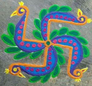 Simple Peacock Rangoli
