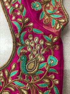 Big Green Thilagam and zari checks design for Dark green blouse