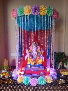 Ganesha placed inside beautiful colorful madapam