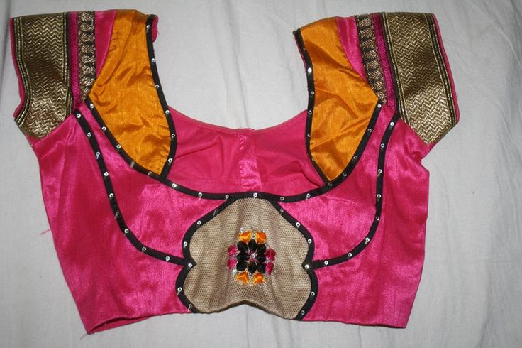 14. Pink Blouse with black and mango yellow patch work