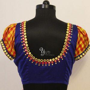 Single line Mirror work blouse