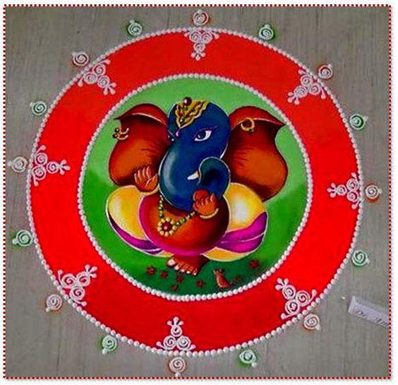 Ganesha inside round Design