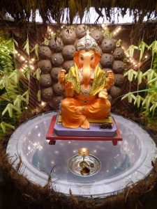 Ganesha decorated in coconuts