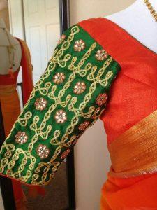 Dark Green sleeves with Chikku kolam design