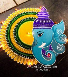 Blue Ganesha with yellow round