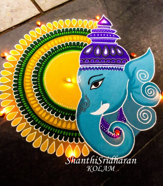 Blue Ganesha with yellow round