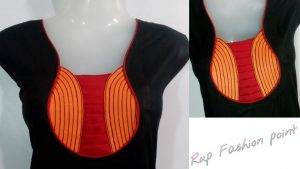 19. Black blouse with Orange and Red patch work