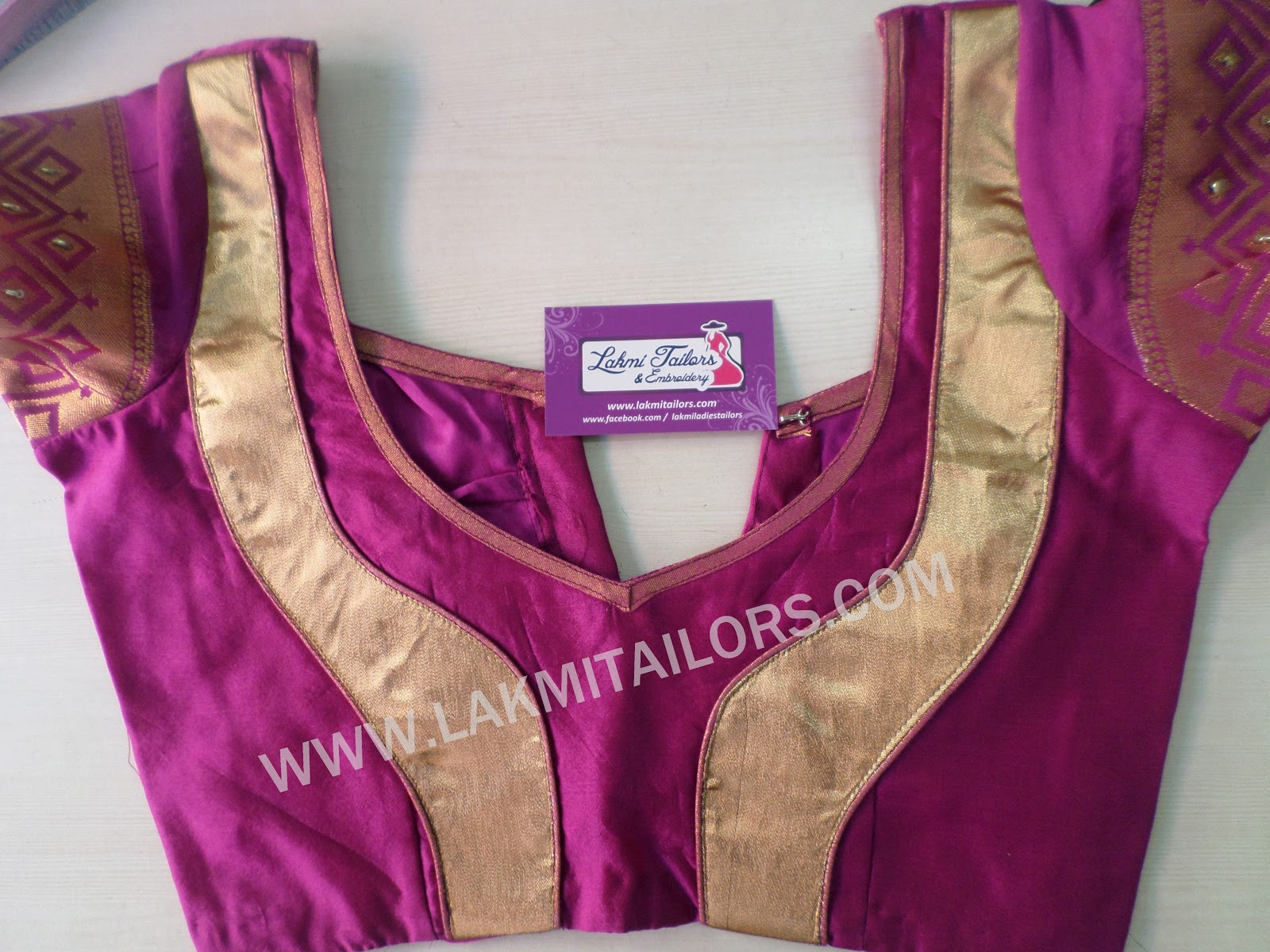 2.Purple Blouse with Zari color Patch work
