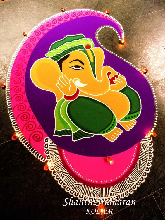 Ganesha in Mango Design rangoli
