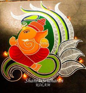 Ganesha in beautiful palak