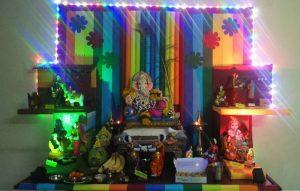 Ganesha in the middle of Navarathiri Golu theme