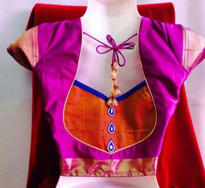 23. Violet blouse with orange patch work