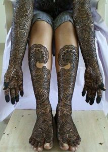 24 Drums and flowers bridal Full hand and feet Mehndi