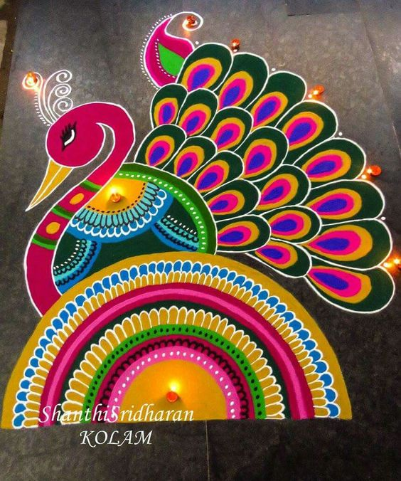 25 Best Wew Images On Pinterest: 50 Admirable Peacock Rangoli Designs That You Can Try