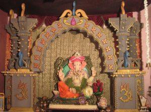 Ganesha Decoration with thermocol mandapam