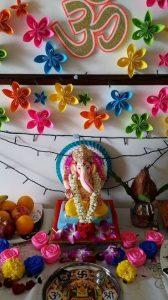 Colorful Paper flower ganesh decoration