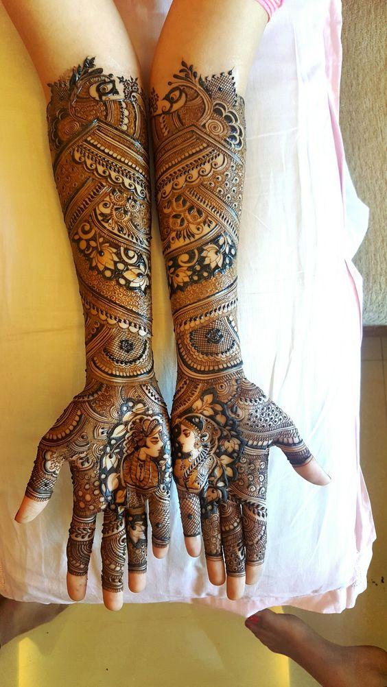 50 bridal mehndi designs for full hands and legs wedandbeyond dulhan and doolha bridal mehndi with lotus flower mightylinksfo