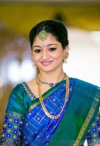 28. Royal Blue blouse with simple border maggam work