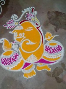 Simple yellow with pink Ganesha