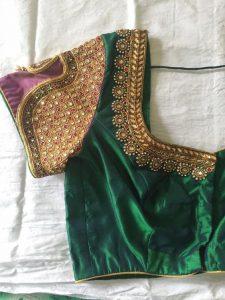 29. Dark green blouse with short sleeve vanki design maggam work
