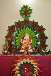 Ganesh Decoration with Leaves and Flowers