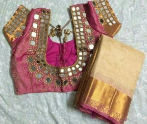 Mirror work blouse for peach color saree