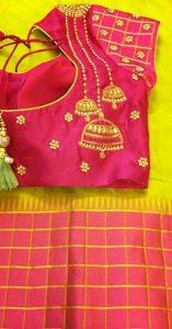 30. Pink blouse with three jumka design maggam work