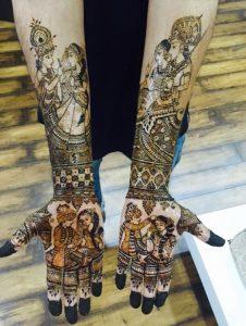 30. Radha Krishna Blessing Bride and Groom Bridal Theme Mehndi