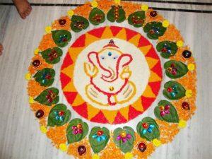 Ganesh rangoli with betal leaves