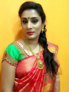 31. Green blouse with pink diamond border maggam work