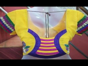 32. Yellow blouse with Royal Blue patch work
