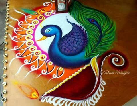 Peacock Above Diya
