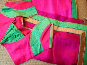 35. Pink Blouse with Green new patch work