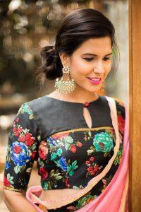 Floral Black blouse with yolk detailing