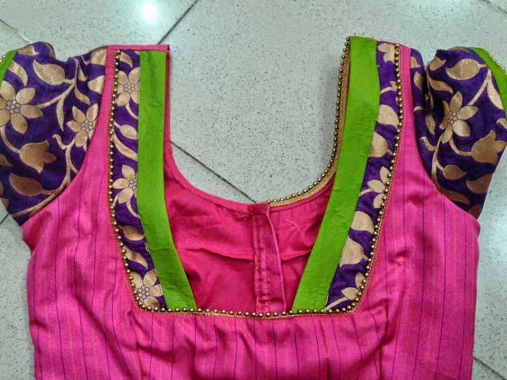 36. Pink Blouse with Royal Blue and green patch work