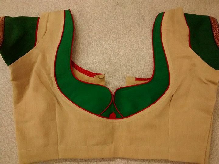 4. Sandal blouse with Green Patch work