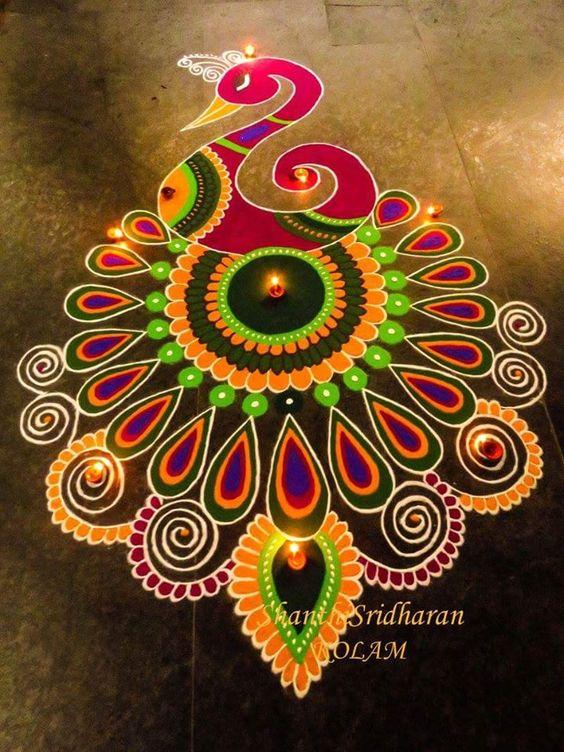 Peacock rangoli 4