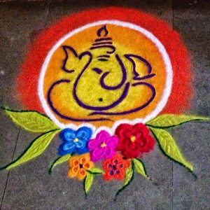 Ganesha with colorful flowers