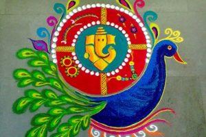 Peacock carrying ganesha