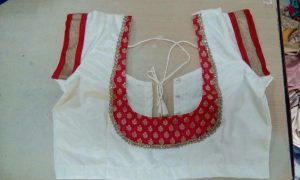 41.White blouse with Red Patch Work