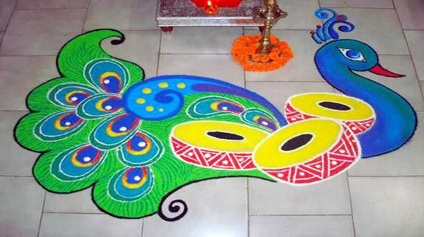 Colorful Peacock With Drums Rangoli