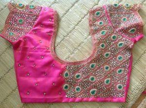 43. Heavy work kundan pink and green stones maggam work blouse