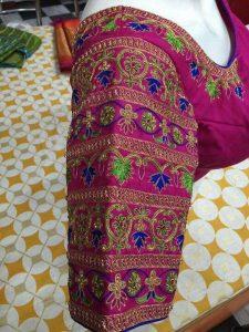 44. Dark Pink Bangle model Maggam work blouse