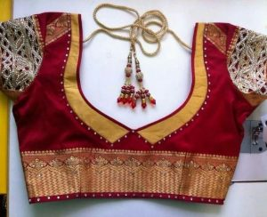 44. Red Blouse with Yellow patch and stone work