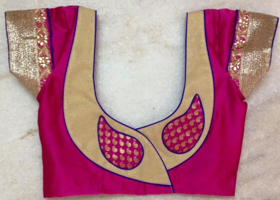 47. Pink blouse with golden and pink mango patch work