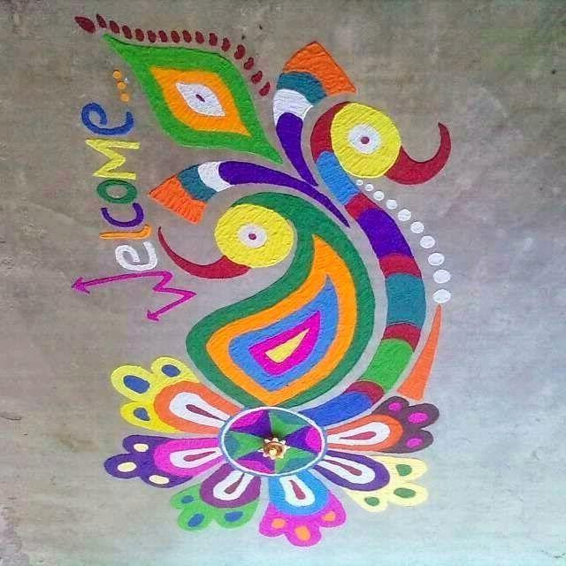 Welcome Peacock Rangoli