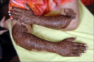 47. Drums and Mangoes Bridal Mehndi Design